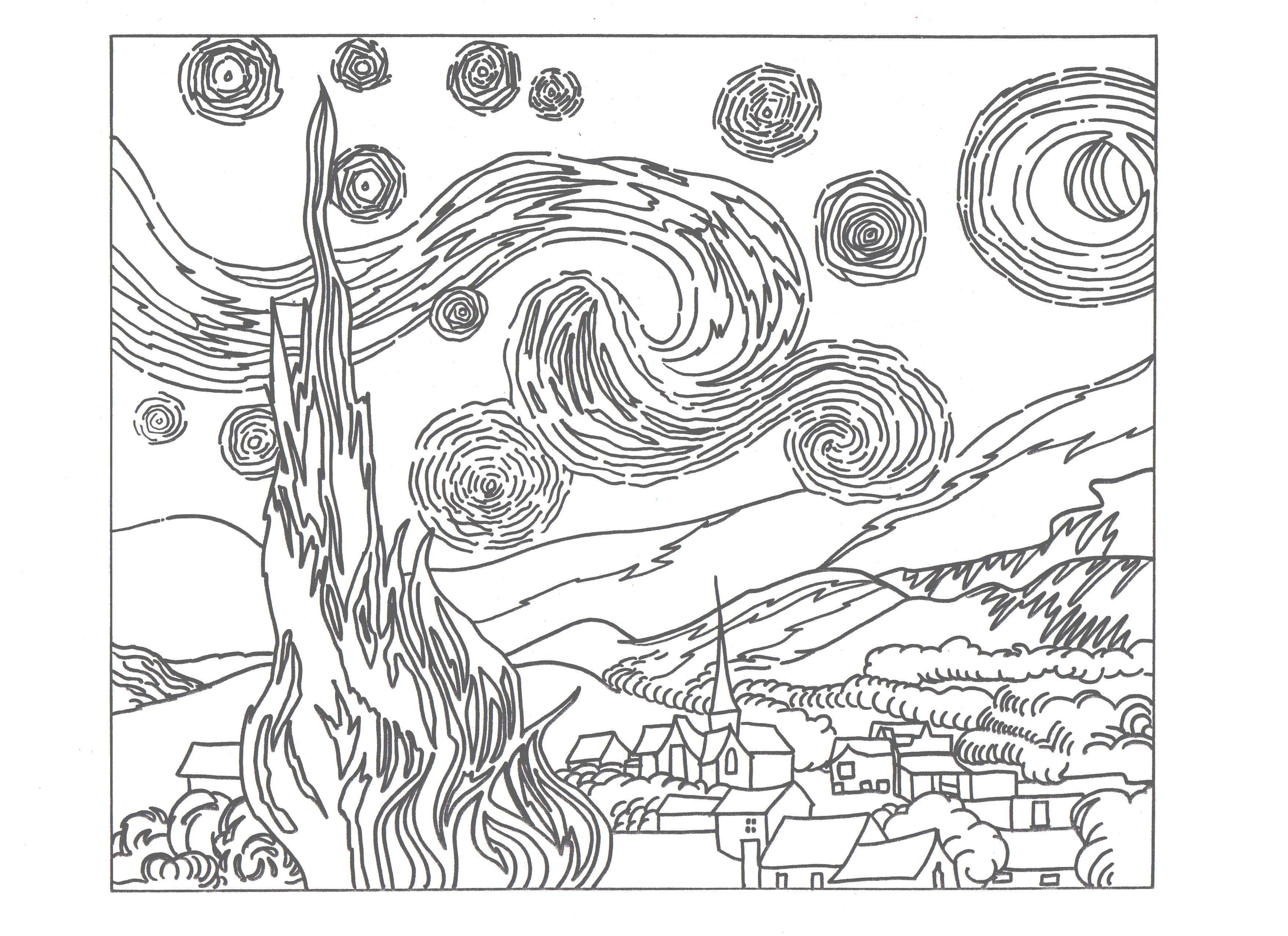 starry night coloring sheet | Drawing | Van gogh, Vincent ...