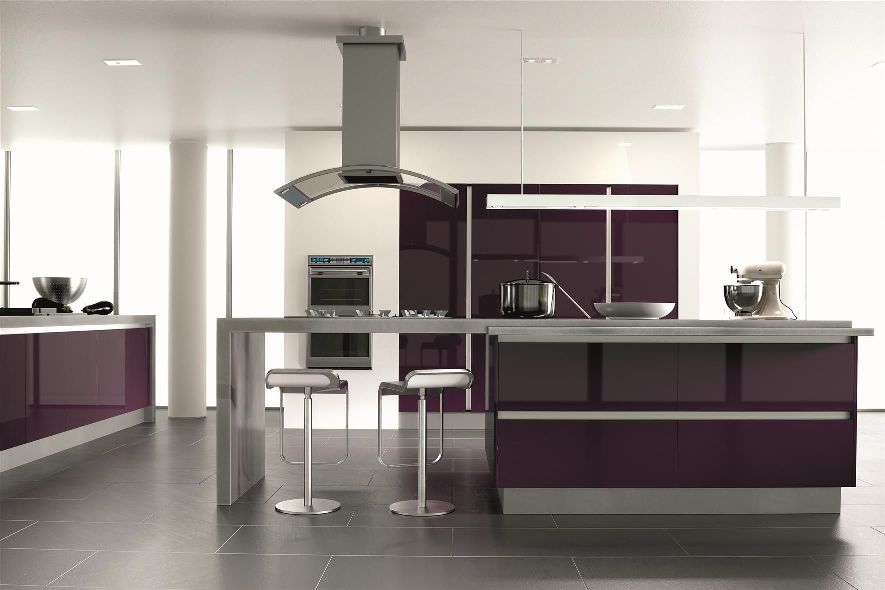 Ultra Gloss Plum Kitchen   Kitchens and bedrooms ...