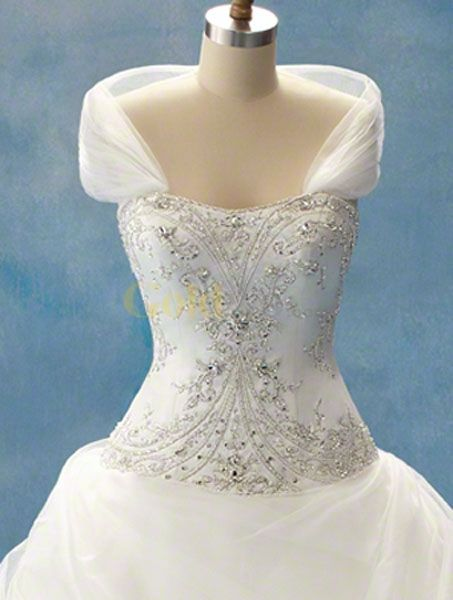 Disney fairy tale weddings style shrug strapless satin for Fairytale inspired wedding dresses