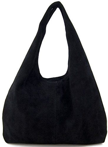 Lush Leather Small Suede Shopper Black Hobo Lush Leather Bags http ...