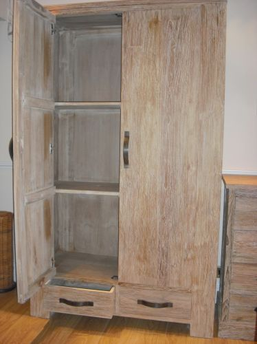 Reclaimed Teak Wardrobe With White Wash Finish   Bedroom Wardrobes    Bedroom Furniture   Sustainable Furniture