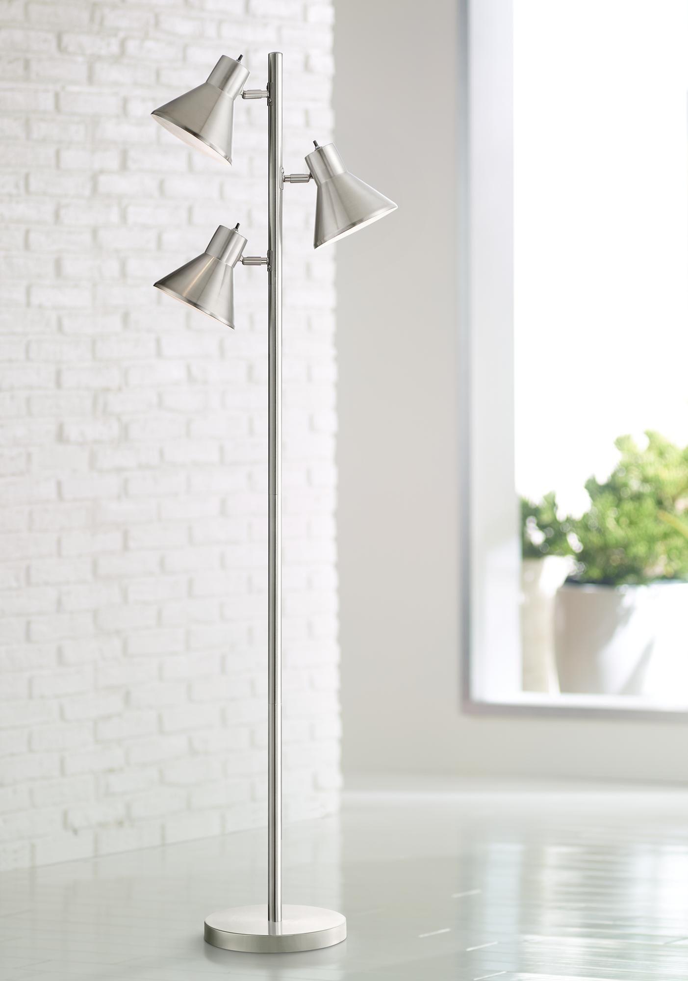 Floor Lamps Luken Brushed Nickel Adjustable 3 Light Tree Floor Lamp In 2020 Modern Floor Lamps Tree Floor Lamp Floor Lamp