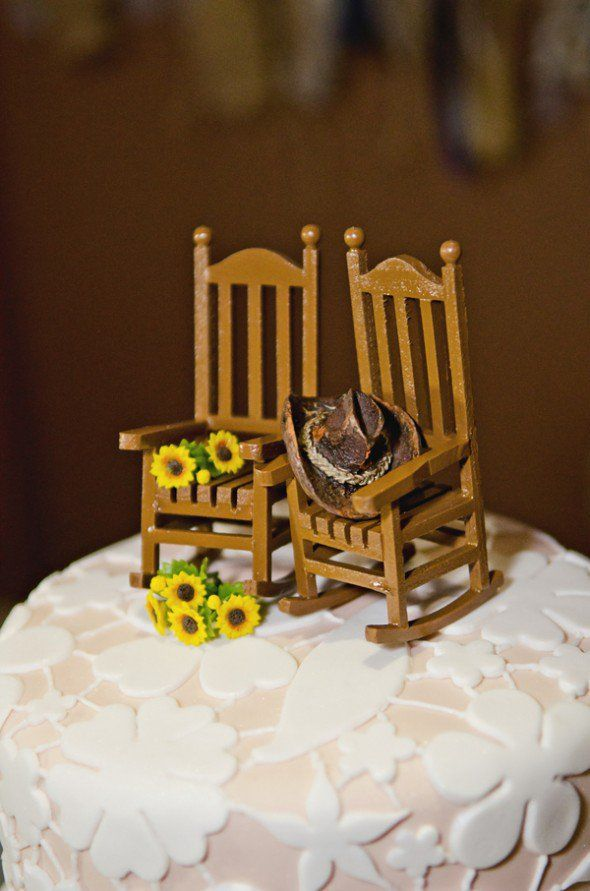 Country Sunflower Wedding Rocking chairs Wedding cake and Miniatures