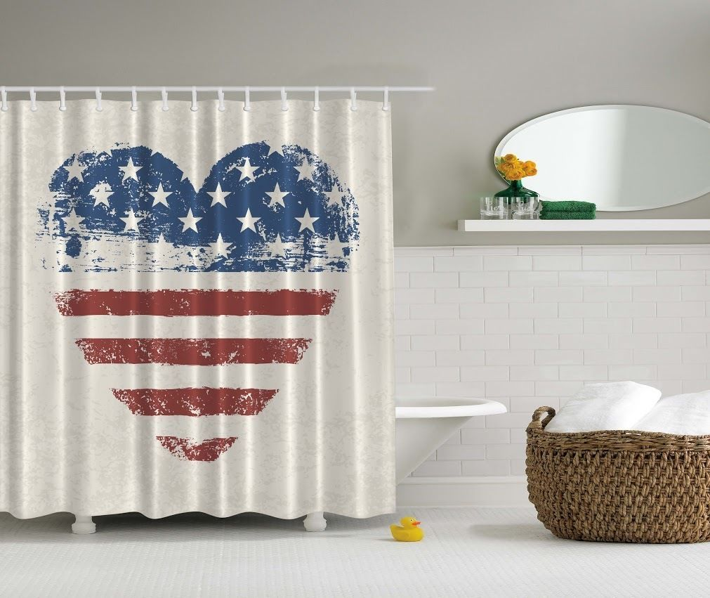 Details About Americana Patriotic Usa Flag Shower Curtain 4th July