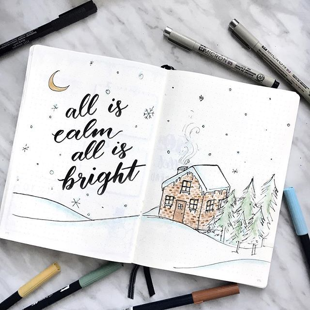 all is calm all is bright a did this wintery little doodle on today s livestream it was so much fun it s saved on my story if you missed it a used