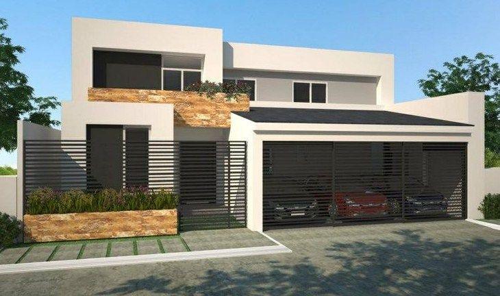 Frentes de casas con herreria fachadas pinterest for Frente casa moderna