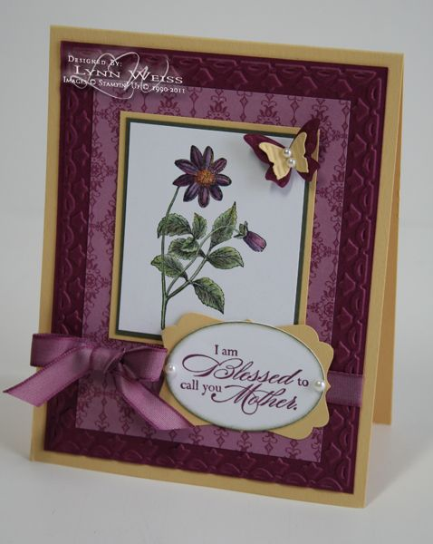 I just got this pretty new stamp set from the Occasions Mini called Blessed Mother . I immediately loved the sentiments and liked the images...
