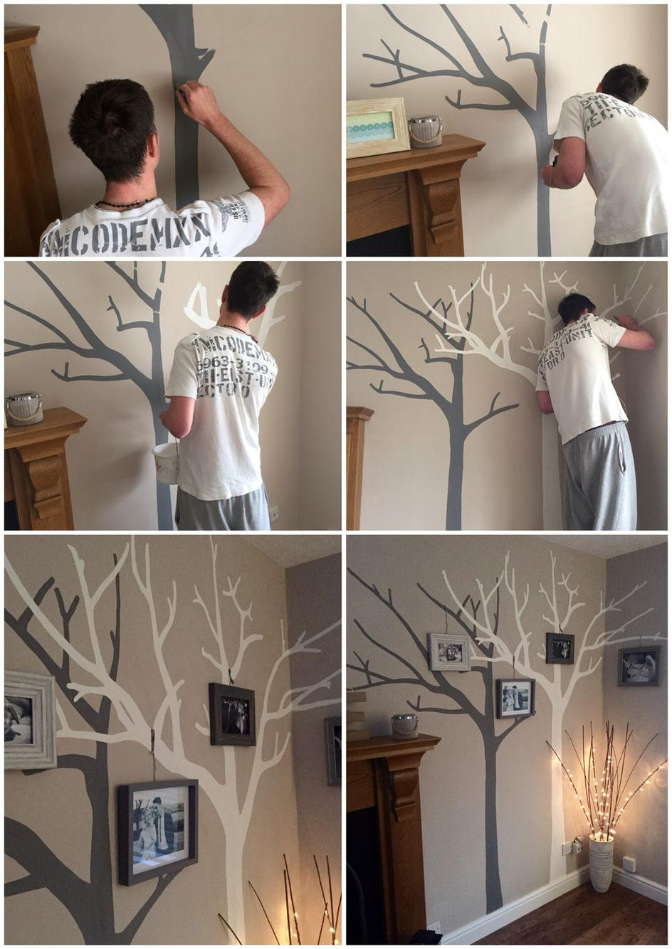 Our Hand Painted Tree Wall Art Diy Family White And Grey On Top Of Cuccino Colour Addition Photo Frames Tied To The With String