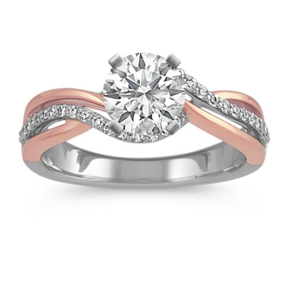 Round Diamond Swirl Ring In 14k White Rose Gold In 2020 Rose Gold Black Diamond Swirl Diamond Ring Wedding Rings Rose Gold