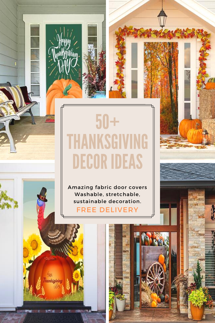 50+ Thanksgiving Decor Ideas | Thanksgiving Fall Door Covers