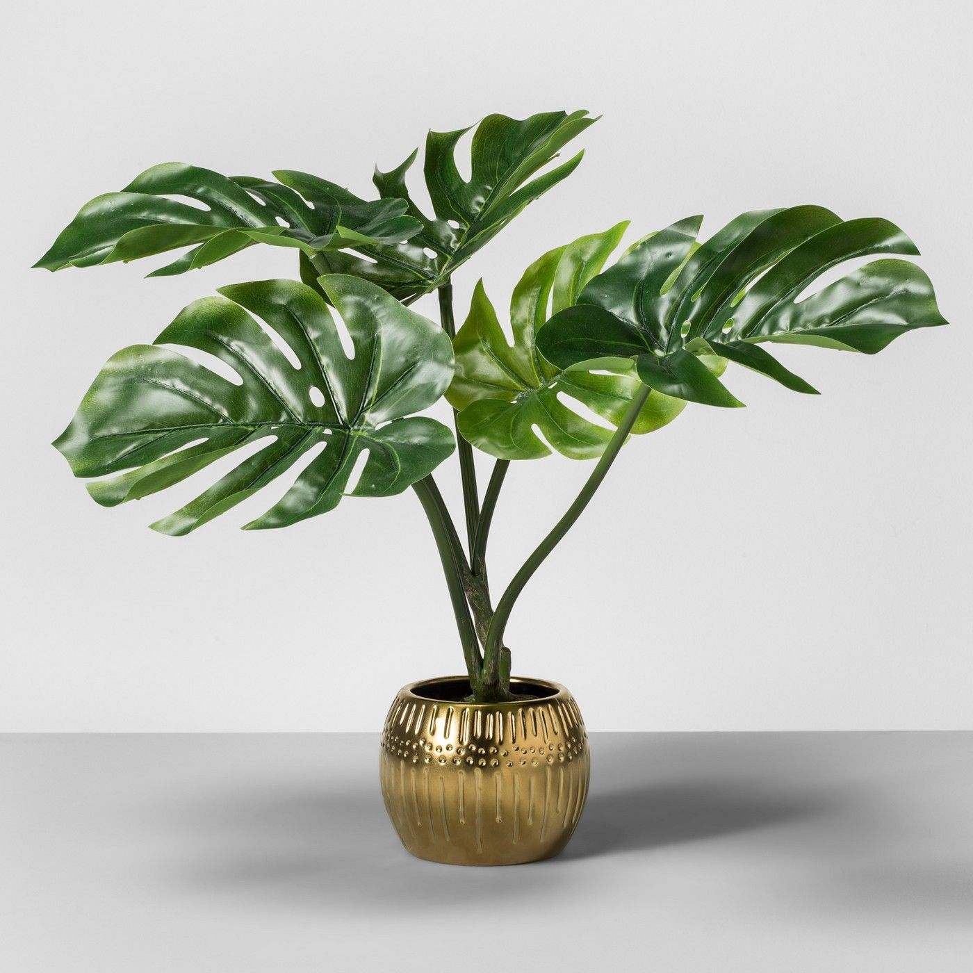 Artificial Palm Leaf Plant In Gold Base Opalhouse Small Artificial Plants Artificial Plants Decor Palm Leaf Plant