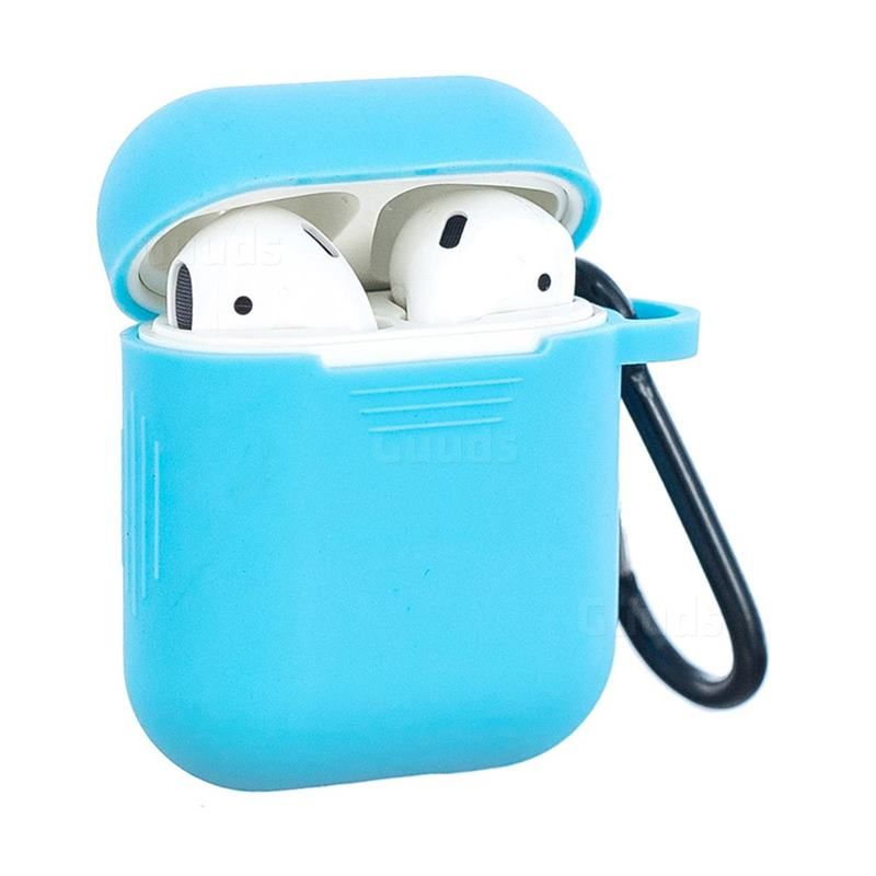 Non Slip Soft Silicone Case For Apple Airpods Blue Airpods 1 2
