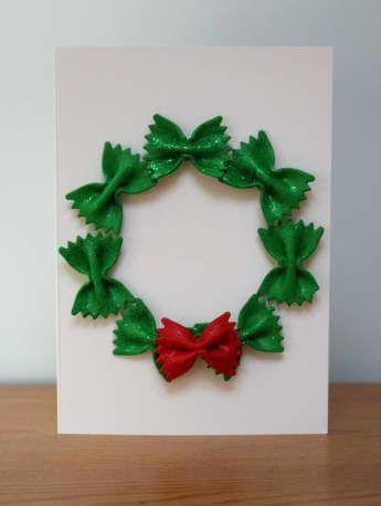 no mess pasta wreath christmas card - No Photo Christmas Cards