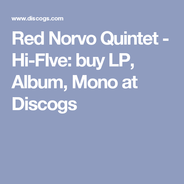 Red Norvo Quintet - Hi-FIve: buy LP, Album, Mono at Discogs