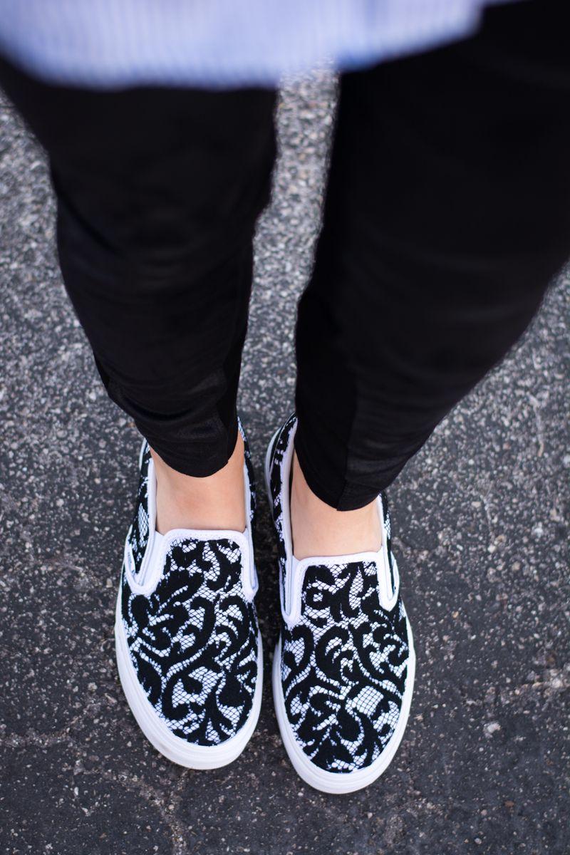Vans shoes black with pink laces dress