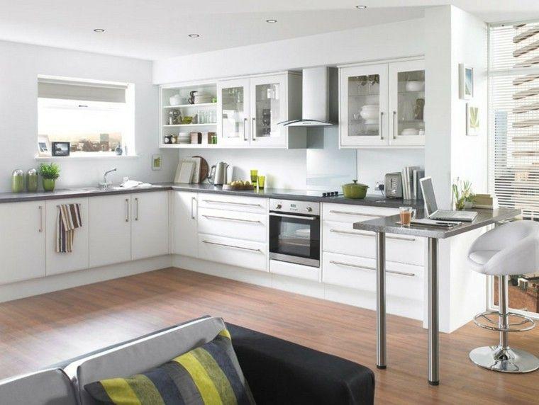 Color blanco y madera de roble para las cocinas modernas Suelo - Cocinas Integrales Blancas
