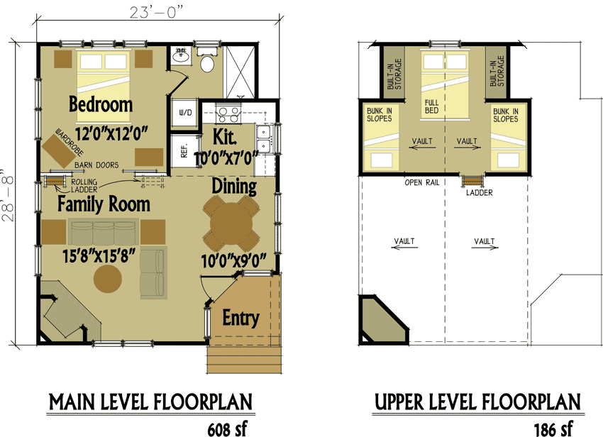Small Cabin Designs with Loft Cabin floor plans Cabin and