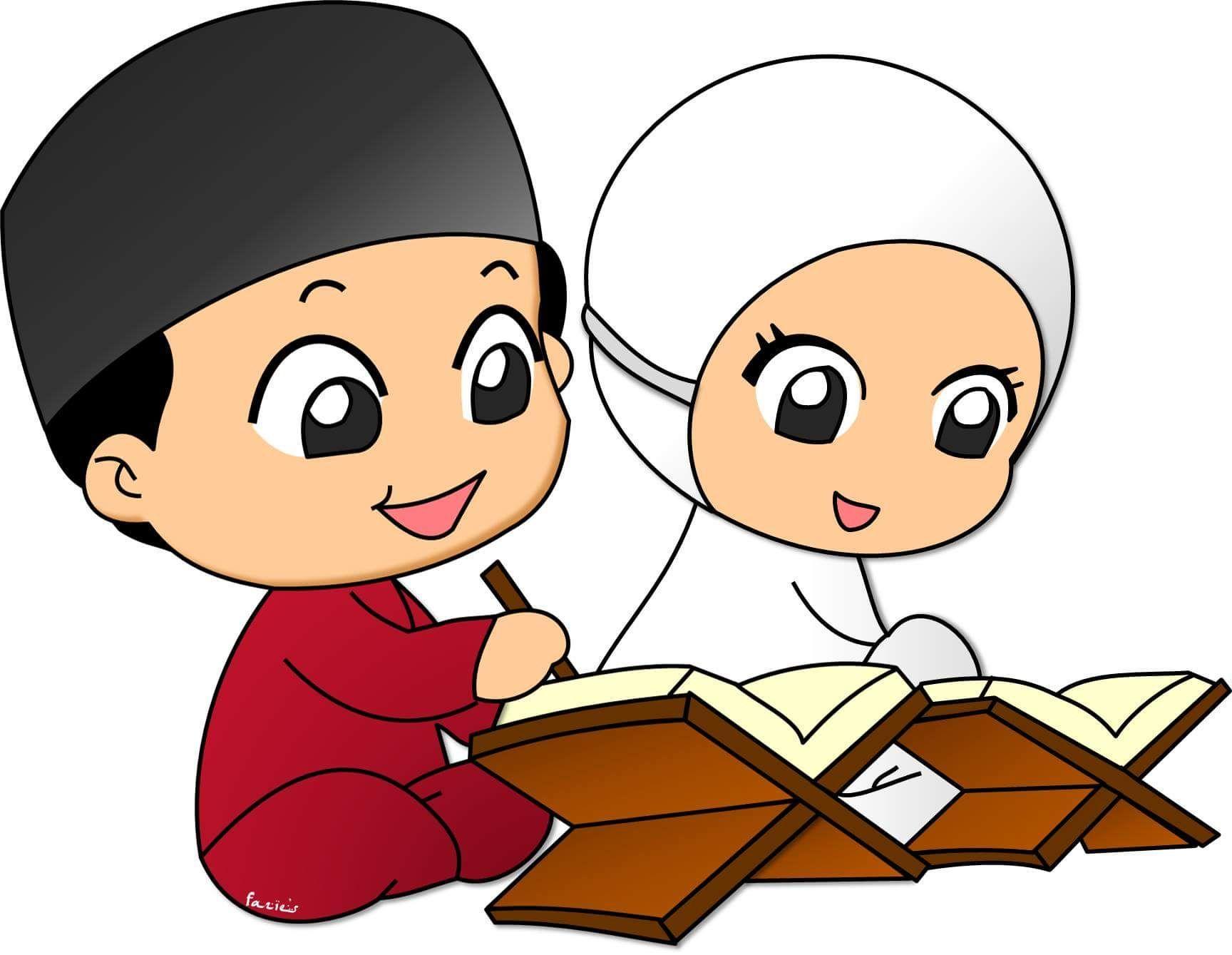 Gambar Kartun Anak Muslim Vector