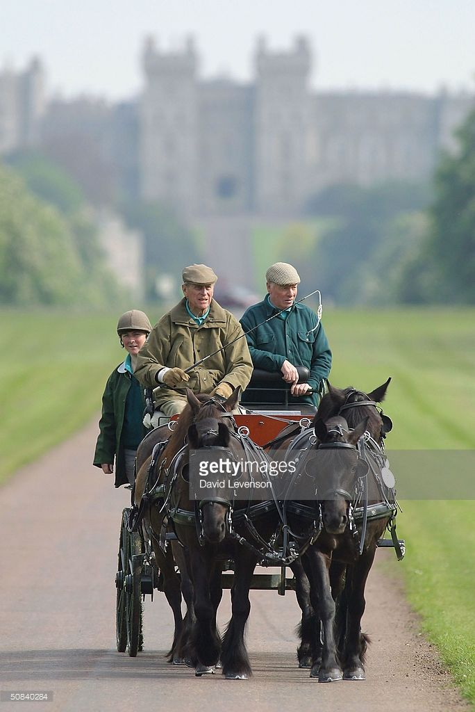 Prince Phillip The Duke Of Edinburgh Competes In Carriage Driving On Third Day Royal Windsor Horse Show At Home Park May 2004
