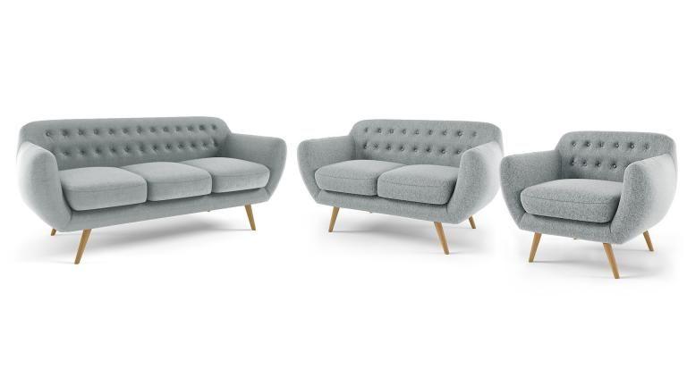 Canapé 2 places vintage en tissu design scandinave digy