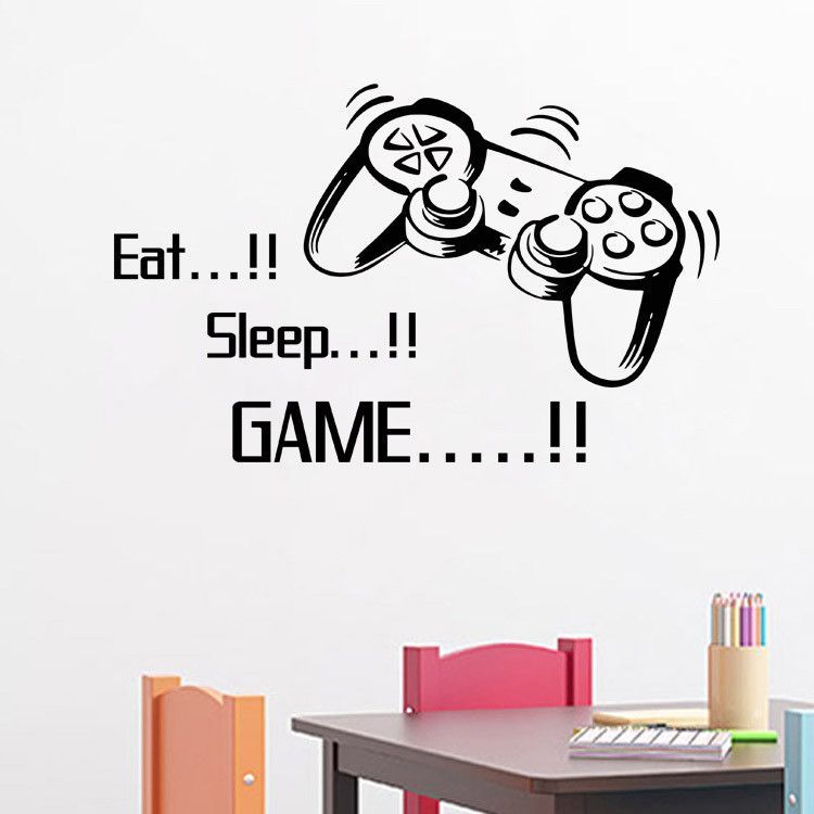 Sticker Wall Art eat sleep game vinyl wall art stickers gamer xbox ps3 boys bedroom