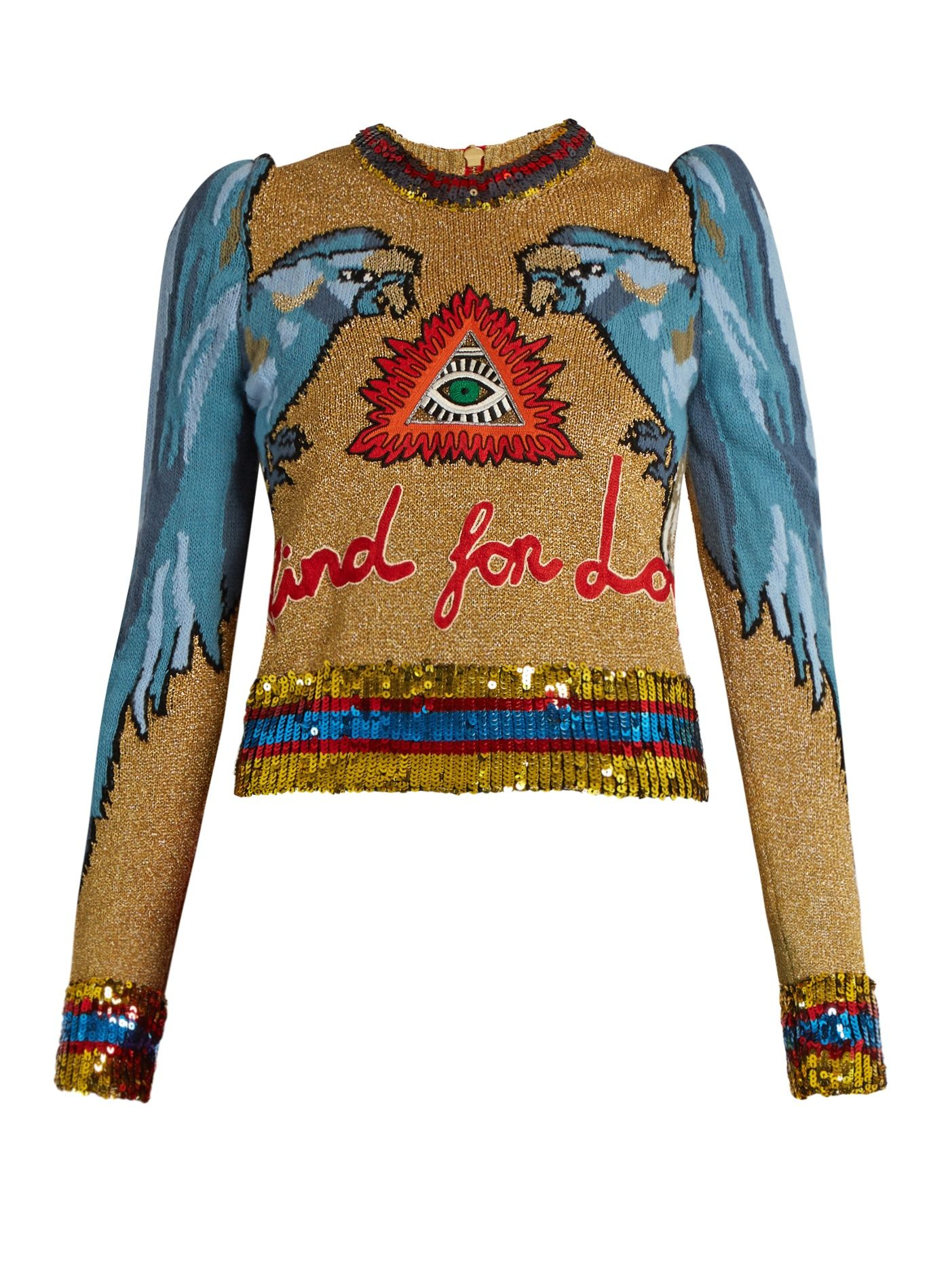 Click here to buy Gucci Parrot-intarsia sequin-embellished sweater at  MATCHESFASHION.COM ba0c143fc26