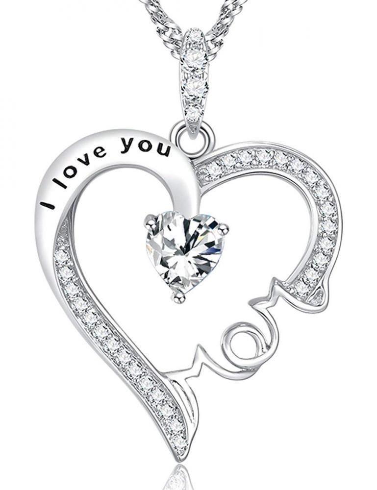 I Love You Mom Jewelry Heart Necklace Birthday Gift Sterling Silver