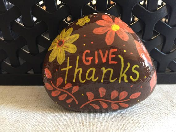 Give Thanks Painted Rock Thanksgiving Decoration Harvest Etsy Rock Decor Rock Crafts Hand Painted Rocks