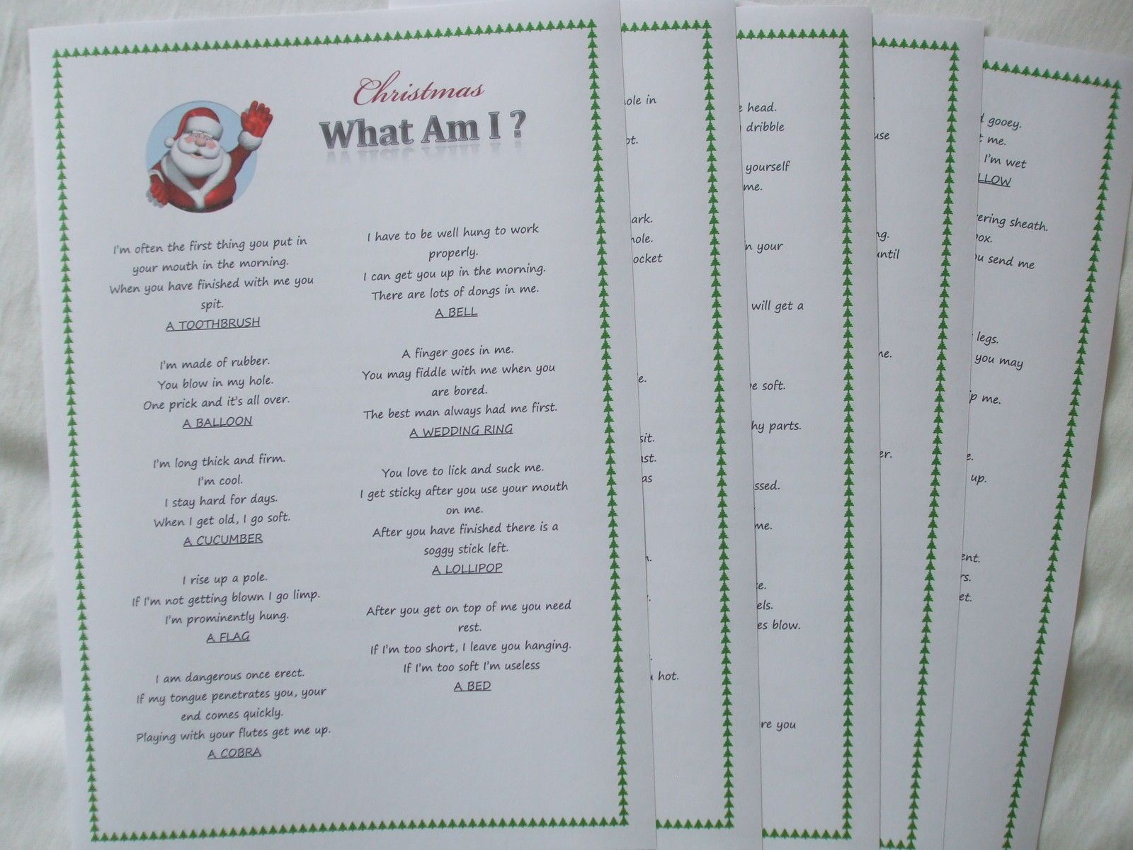 Christmas New Year Fun Game What Am I Adult Trivia