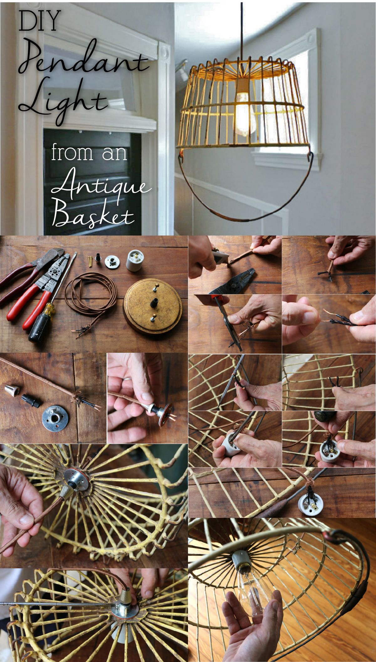 How To Turn An Antique Basket Into A Unique Pendant Light Diy Wire Fixture Transform Old Egg Great Upcycling Items And Changing Their Uses Will Add Totally Feel Your Home