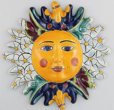 Mexican Talavera Ceramic Sun Face Wall Decor Hanging Pottery Folk ...
