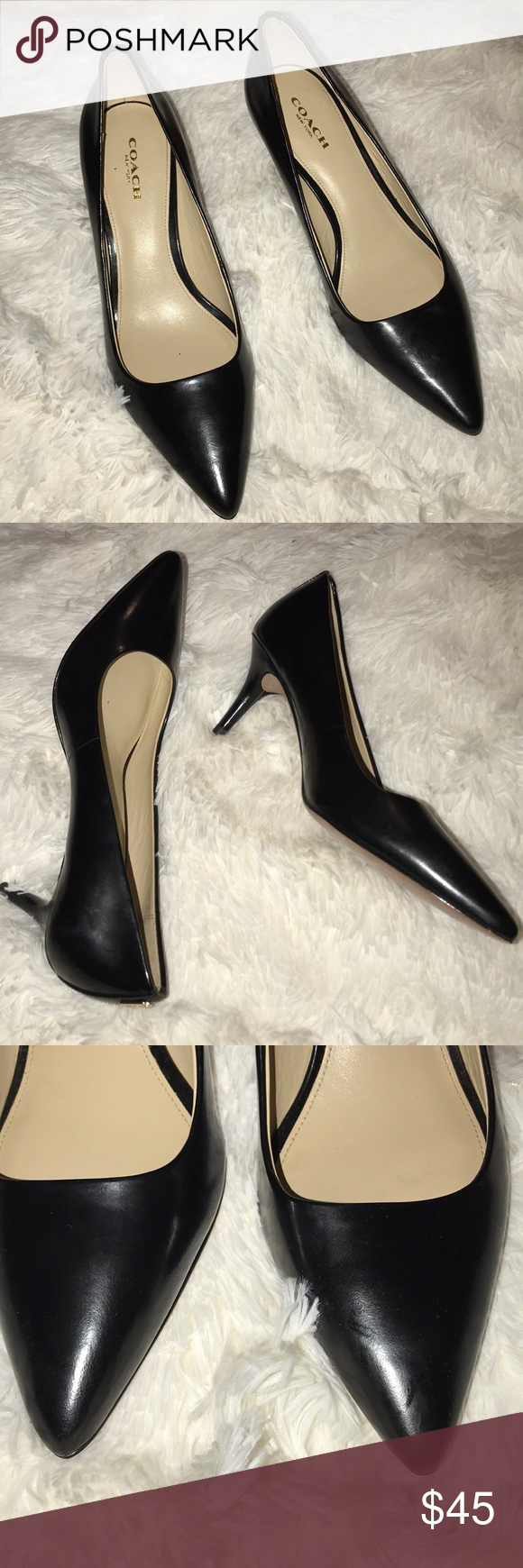 5bbe2451c7d ⭐️Coach kitten heels size 7⭐ GORGEOUS Black leather pumps with pointed toe  and 3 inch heel. Small scuff on left heel. Slight wear but overall great ...