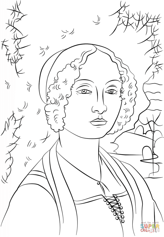 Portrait of Ginevra Benci by Leonardo Da Vinci   Super Coloring ...