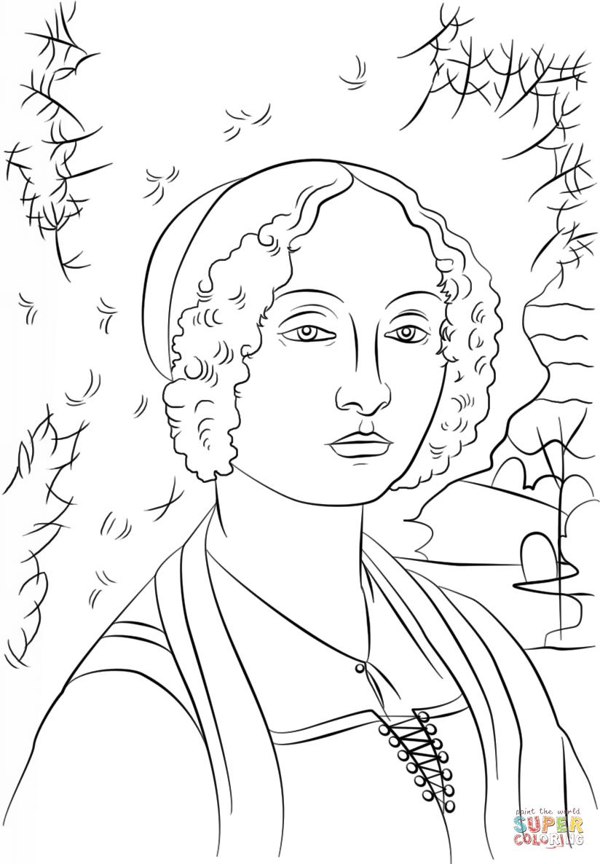 Coloring pages portraits - Portrait Of Ginevra Benci By Leonardo Da Vinci Super Coloring