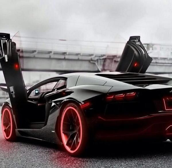Red & Black Lamborghini. Love The Neon On The Tires!! This