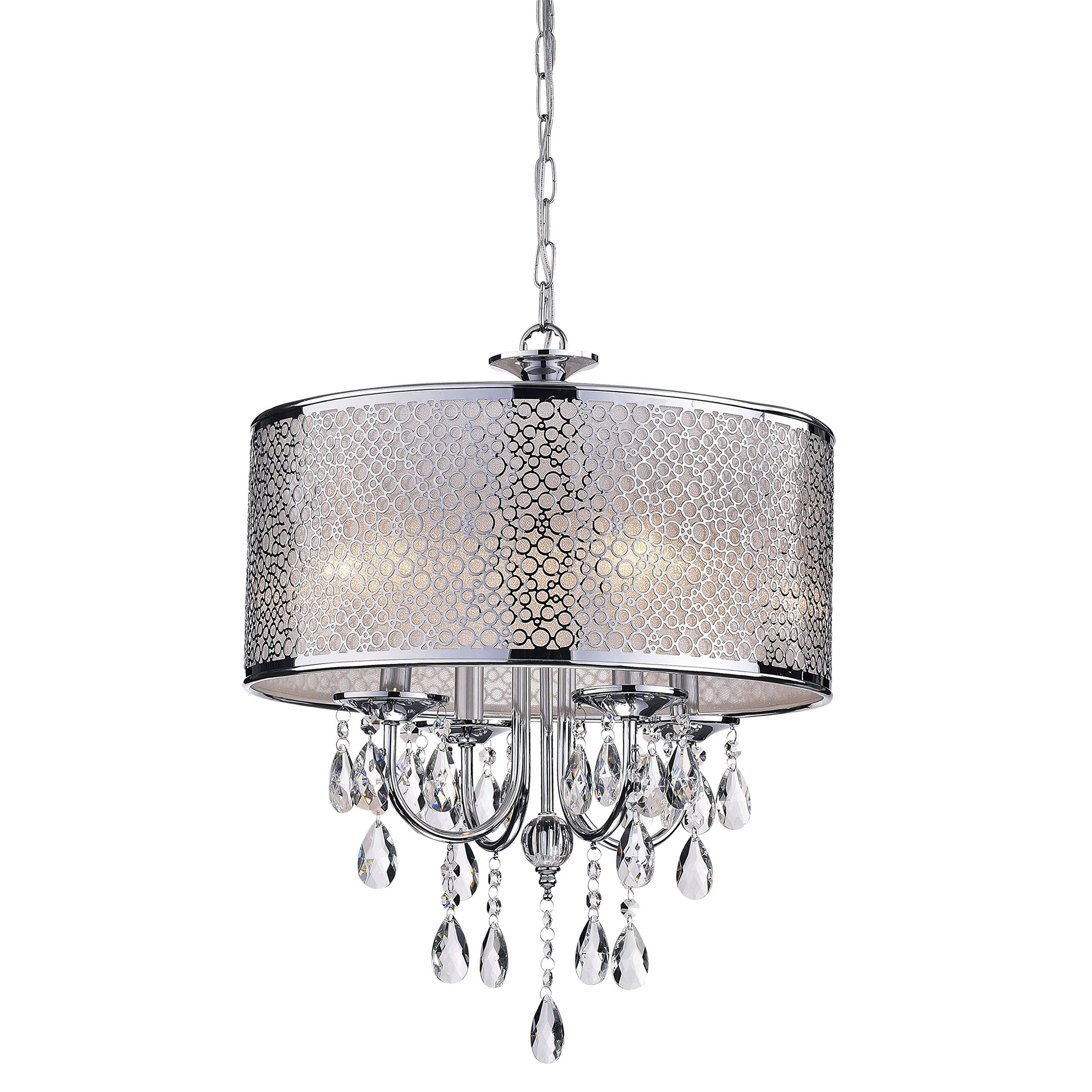 Indoor 4light Chrome Crystal White Shades Chandelier Check