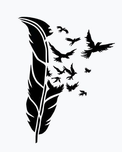 Birds of a feather airbrush stencil 4 1 2 x 3 1 2 for Spray on tattoo stencils