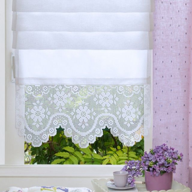 Tenda, lino e schema | UNCINETTO | Crochet Curtains, Crochet curtain ...