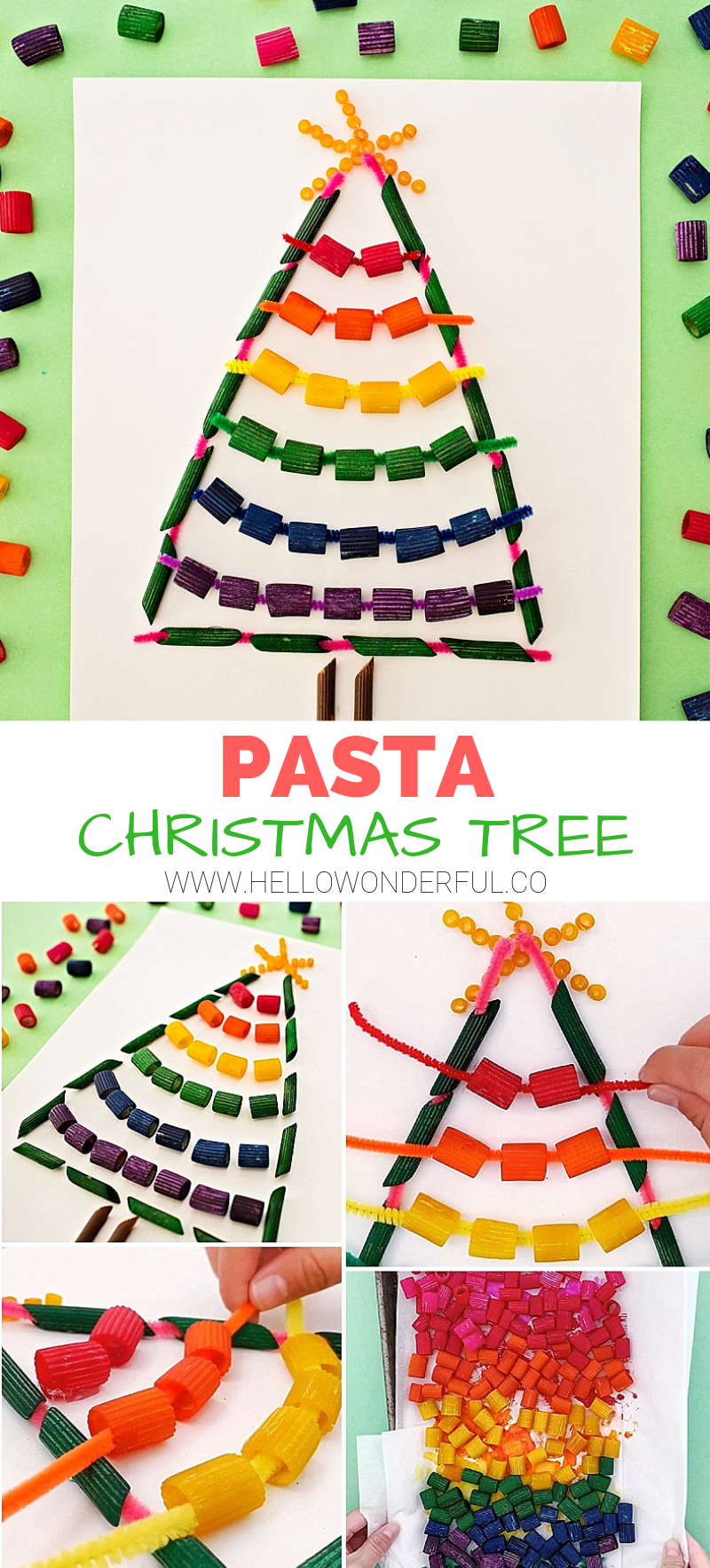 Rainbow Pasta Christmas Tree Craft. Colorful #christmastree #kidscraft. The threading is fun for #finemotorskills #kidsart #christmascrafts #christmasdiy #christmasart #pastacraft