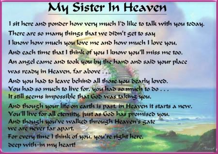 Pin By Joanne Demitri On Poems I Miss My Sister Sister In Heaven