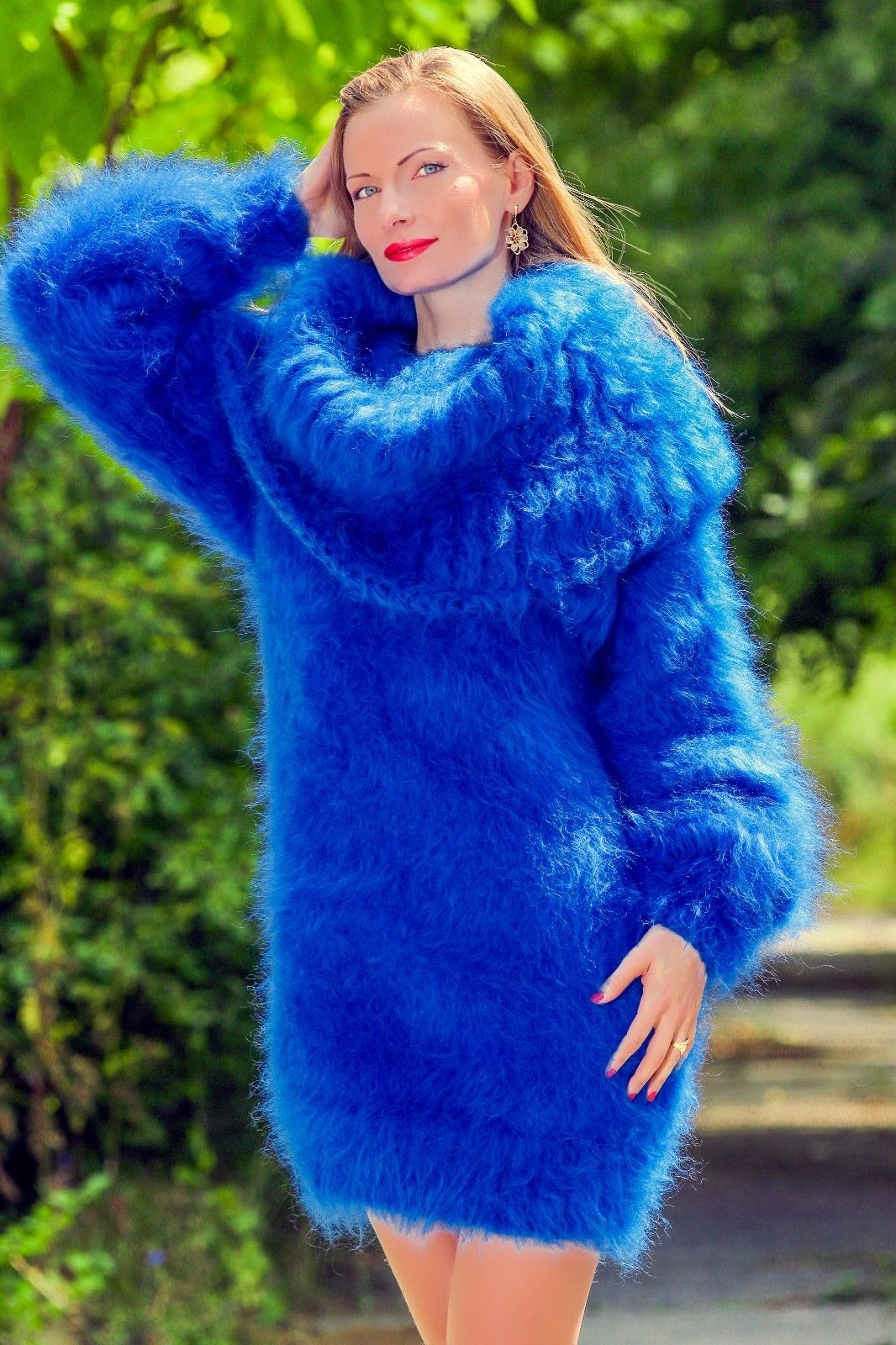 618c53eda5 Royal blue hand knitted soft   fuzzy mohair cowl neck sweater dress by  SuperTanya ®. Themohair