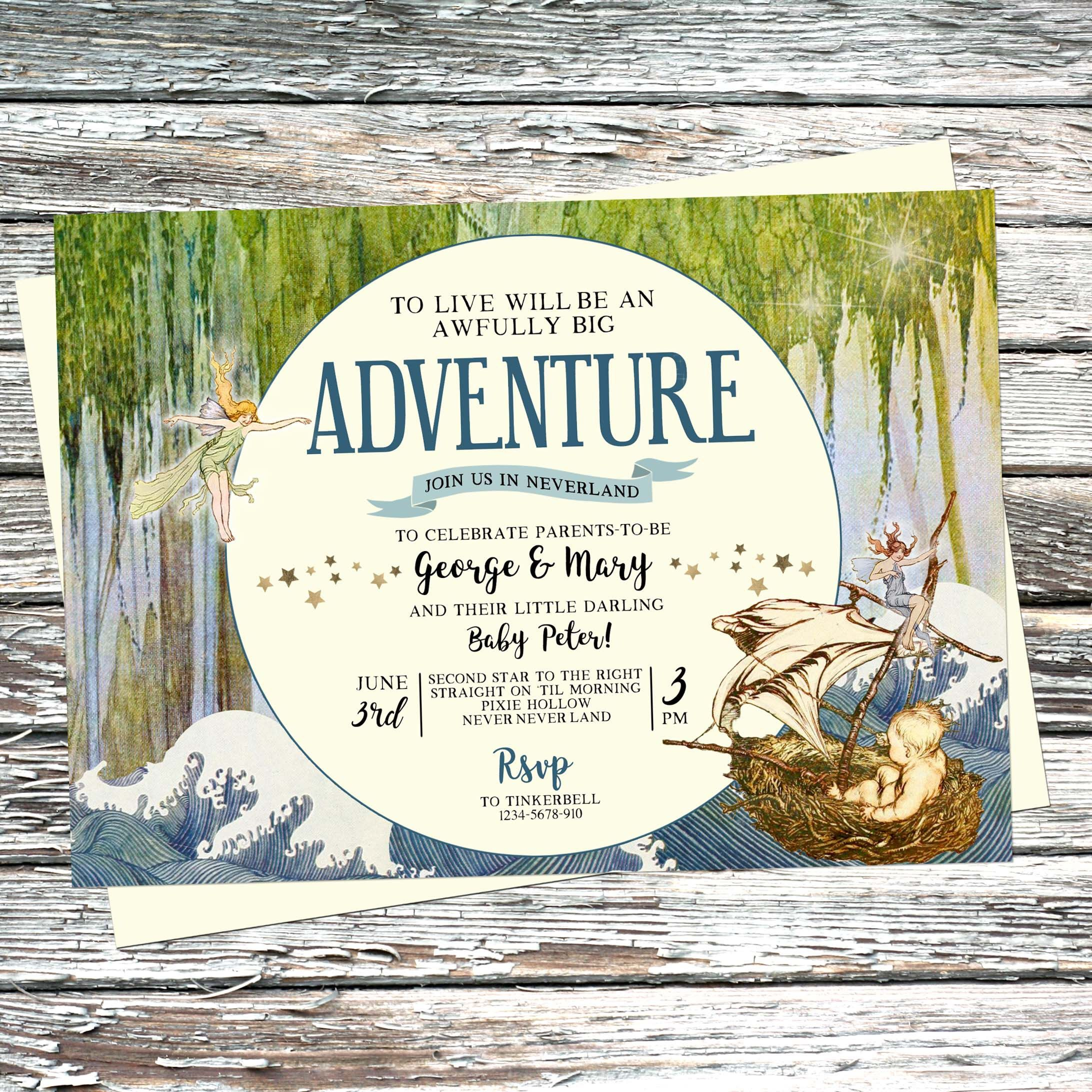 Personalised vintage Peter Pan Baby Shower Invitation, Neverland ...