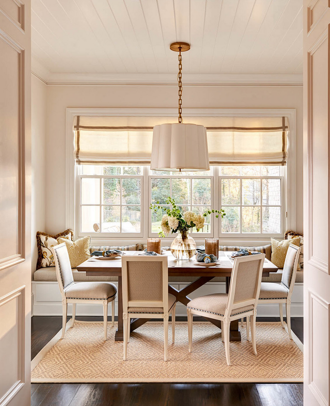 kitchen breakfast area inspiration tongue and groove ceiling roman shade banquette - Breakfast Area Lighting