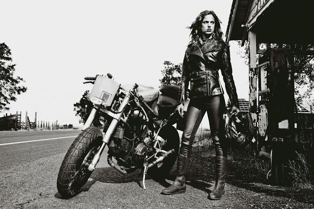 Mad Max motorcycle girl ~ Return of the Cafe Racers