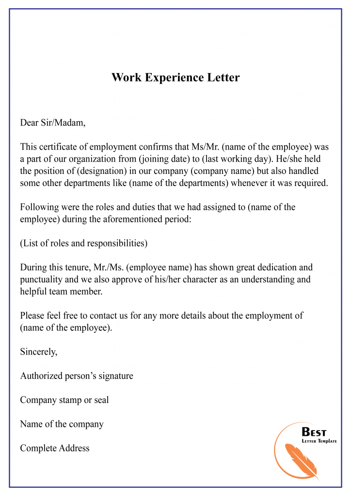 10+ free experience letter sample & example lettering receptionist cv template word download doc blank format