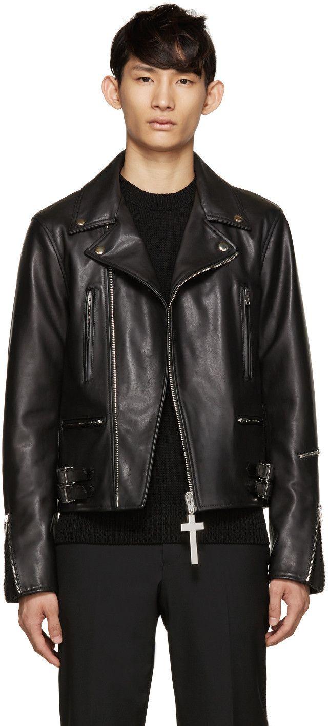 Givenchy Leather Biker Jacket In Black Modesens Black Leather Biker Jacket Biker Jacket Leather Biker Jacket