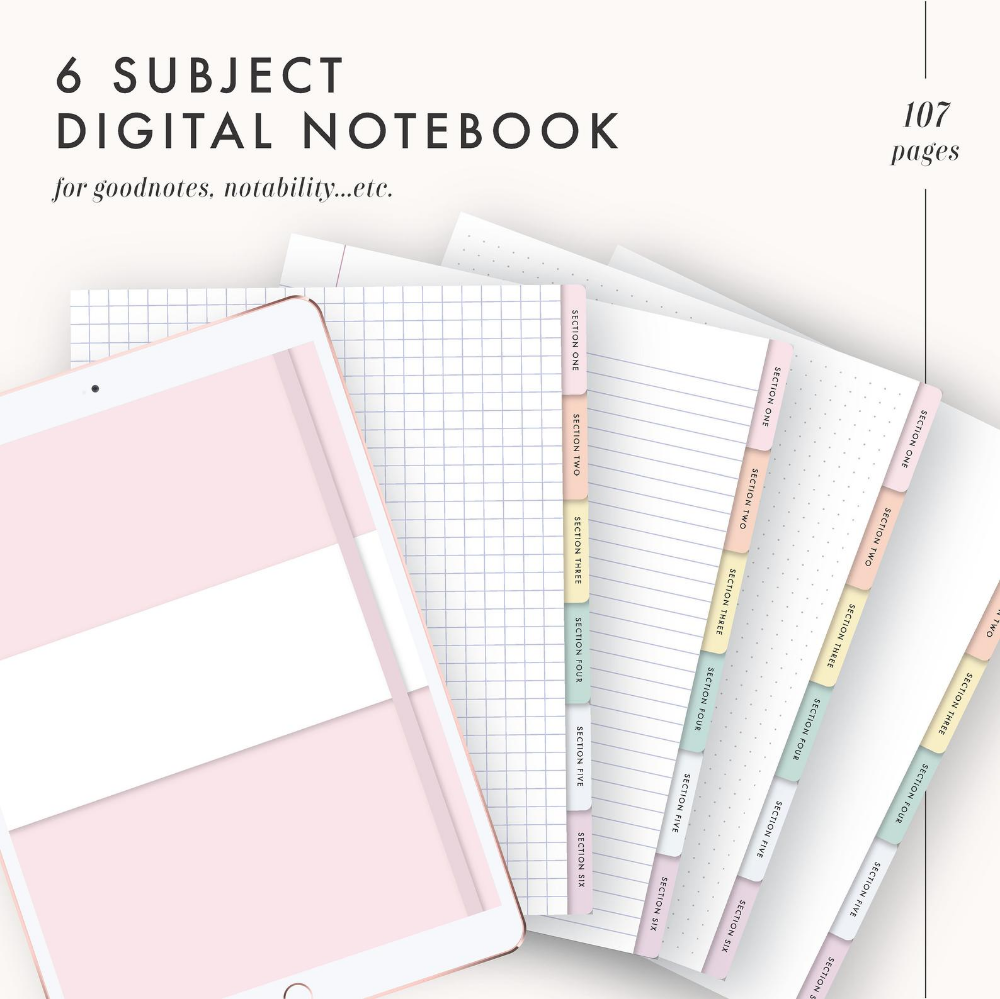 Digital Notebook Goodnotes Template Goodnotes Notebook Etsy Digital Notebooks Bullet Journal Table Of Contents Notebook Templates