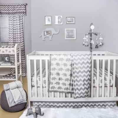 Product Image For The Peanut Shell Elephant 4 Piece Crib Bedding Set In White Grey