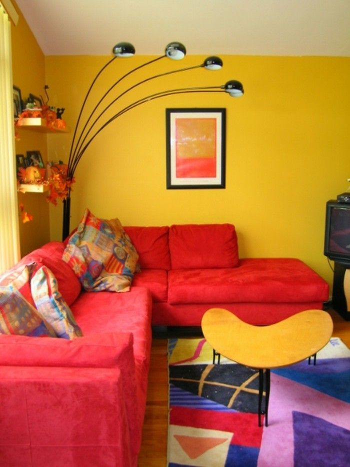 Home furnishings living room red sofa yellow walls cool floor lamp ...