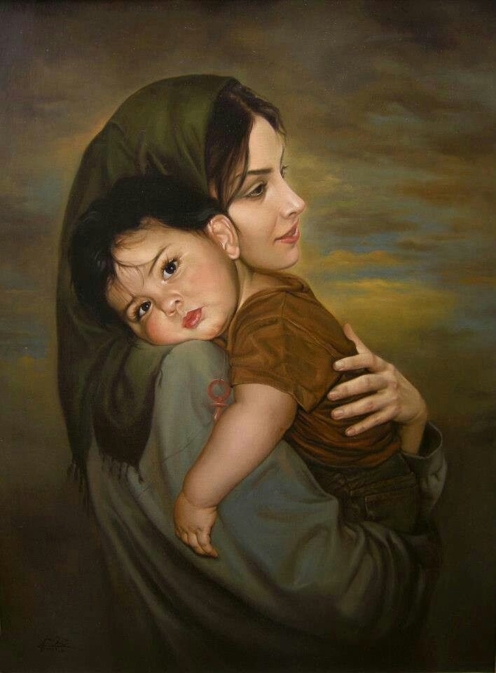 Mom n child   Mother and child painting, Baby painting, Painting for kids